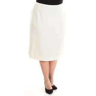 Womens Ivory Below The Knee Pencil Wear To Work Skirt Plus Size 18W