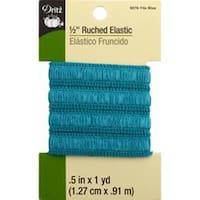 """Tile Blue - Ruched Elastic .5""""X1yd"""
