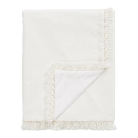 Ivory Boho Bohemian Collection Girl Boy Baby Receiving Security Blanket - Gender Neutral Off White Farmhouse Fringe Cotton