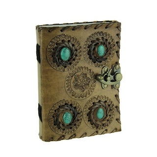 Embossed Leather Bound Turquoise Green Stone Locking Journal