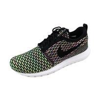 Nike Men's Roshe NM Flyknit Black/Black-Pink Power-Blue Glow677243-013