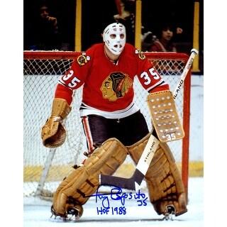 Tony Esposito Signed Chicago Blackhawks Goalie Action 8x10 Photo wHOF 1988