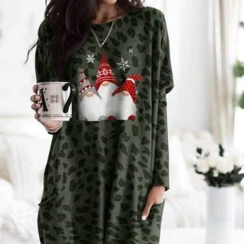 Christmas Leopard Print Round Neck Long Sleeve Dress