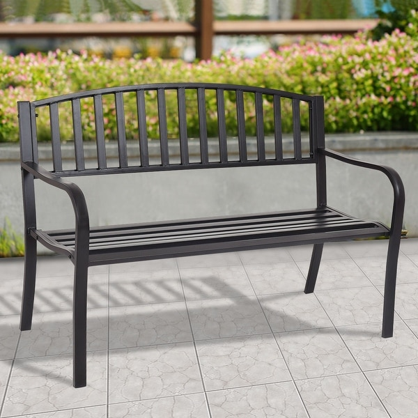 costway 50 patio garden bench park yard outdoor furniture - Garden Furniture Steel