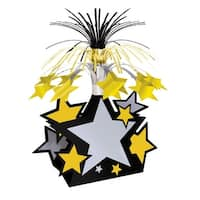 """Club Pack of 12 Black, Gold and Silver Star with Tinsel Accents Centerpiece Decorations 15"""" - Black"""