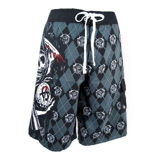 Sons of Anarchy Black / Gray Argyle Grim Reaper Board Shorts