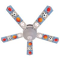 Sports Balls Print Blades 52in Ceiling Fan Light Kit - Multi