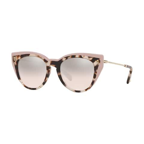 Valentino VA4051 51278Z 50 Havana Brown Beige/poudre Woman Round Sunglasses