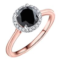 Prism Jewel 1.60 TCW Black Color Diamond with Natural Diamond Halo Engagement Ring - White G-H
