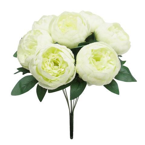 """Classic Peony Flower Stems Bush Bouquet 17in - 17"""" L x 12"""" W x 12"""" DP"""