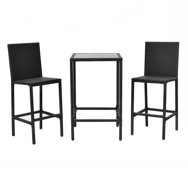 Costway 3PCS Rattan Wicker Bar Dining Bistro Barstool Chair Table Frame Furniture Set