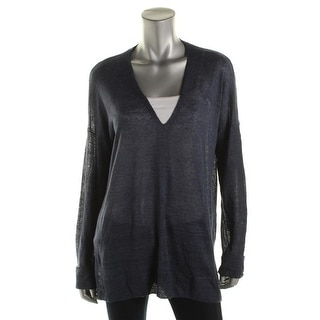 Vince Womens Linen Contrast Trim V-Neck Sweater