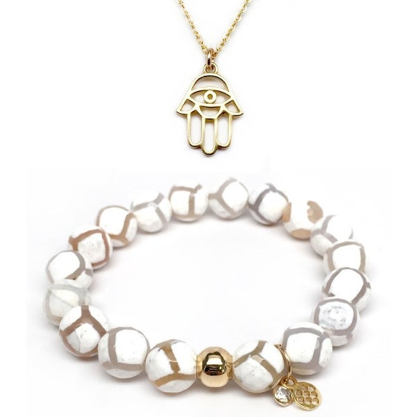 "White Agate 7"" Bracelet & Hamsa Hand Gold Charm Necklace Set"