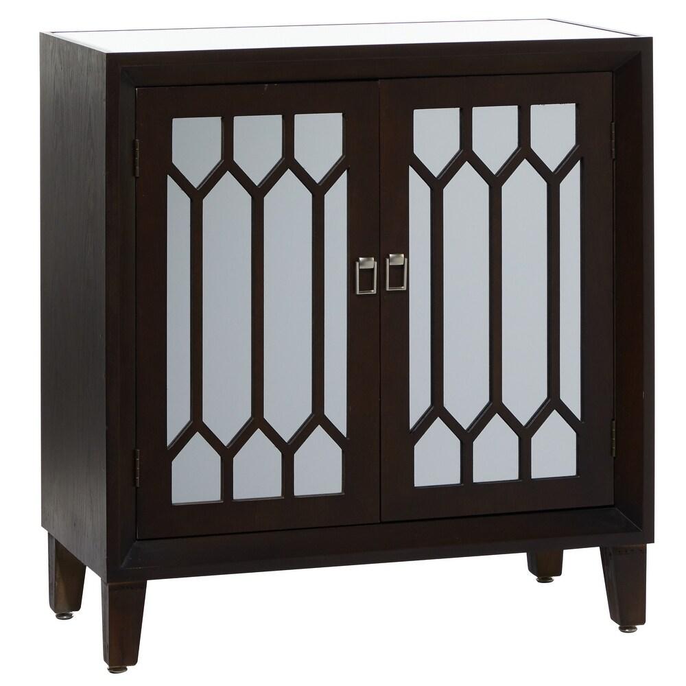 """Studio 350 Rectangular Dark Brown Wood Cabinet With Mirrored Doors 32"""" X 34"""" - 32 x 16 x 34 (32 x 16 x 34 - Brown)"""
