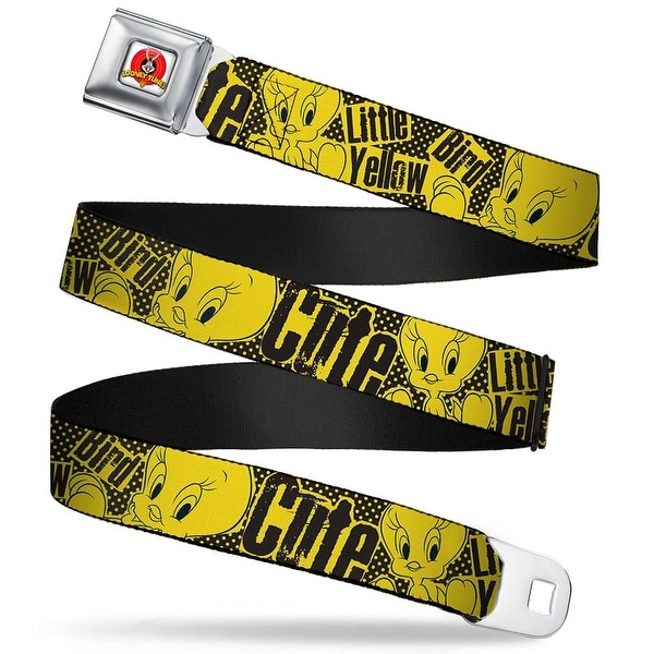 Looney Tunes Logo Full Color White Tweety Bird Poses Cute Little Yellow Seatbelt Belt