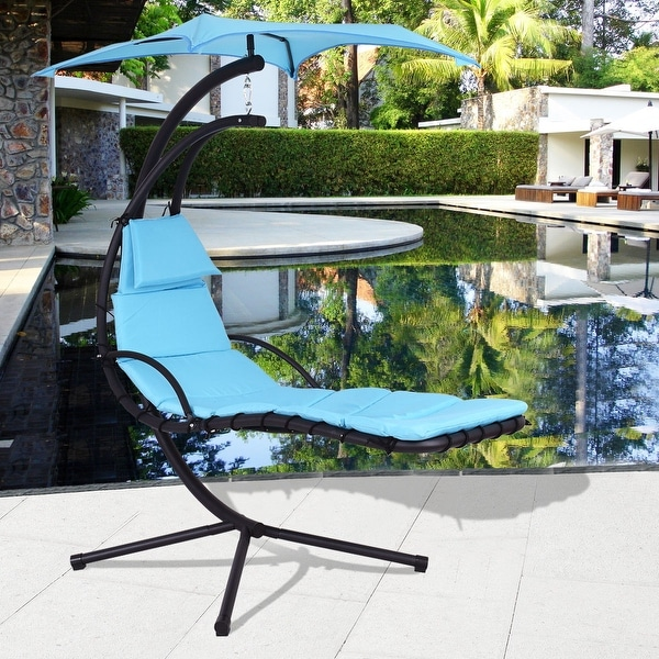 Costway Blue Hanging Chaise Lounge Chair Arc Stand Air Porch Swing Hammock Chair Canopy