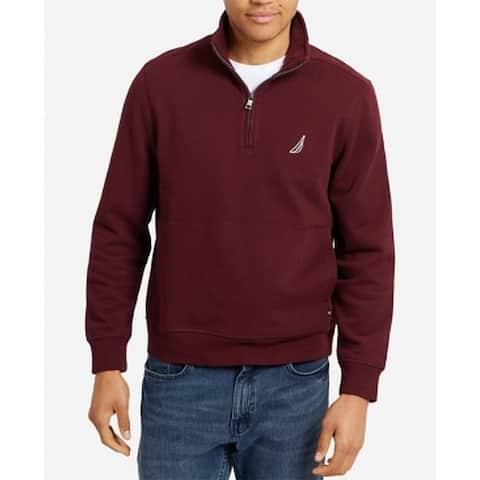 Nautica Mens Purple Small S 1/4 Zipper Fleece Lined Pullover Sweater