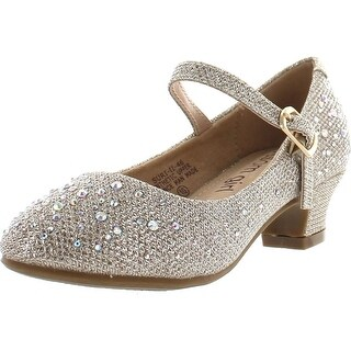 De Blossom Girl Suri-Ii-46 Rhinestones Adjustable Buckle Low Heel Dress Pumps For Little Girls