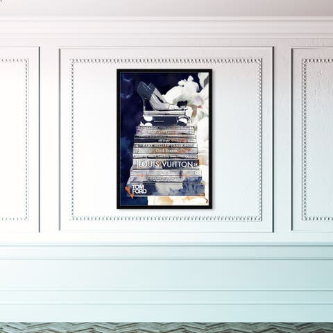 Oliver Gal 'Deep Blue Thoughts' Fashion and Glam Framed Wall Art Prints Books - Blue, White