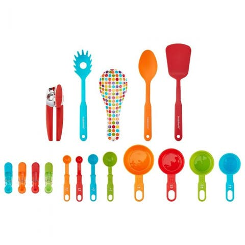 Farberware 5233248 Color Series 17 Piece Kitchen Tools & Gadgets Starter Set, Durable Plastic & Stainless Steel, Multicolor