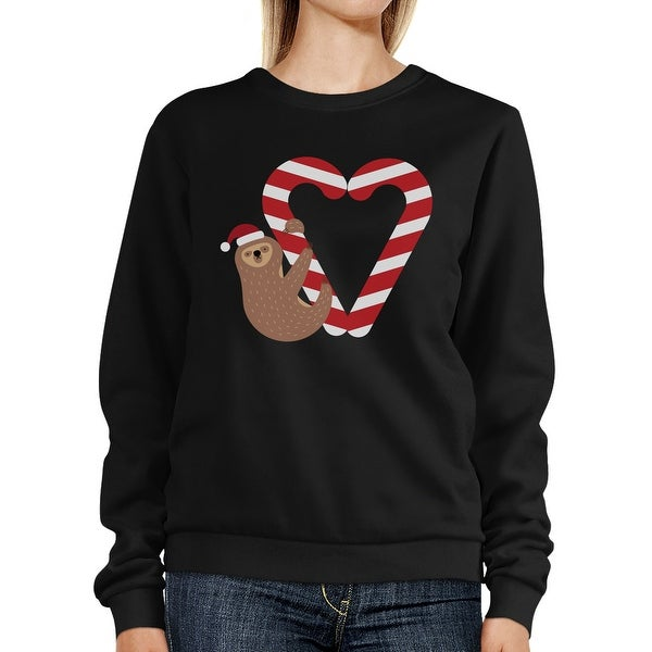 Candy Cane And Sloth Sweatshirt Winter Pullover Fleece Sweater ...