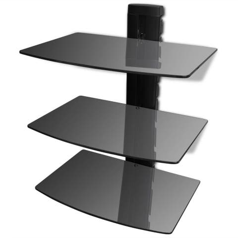 3 Shelf Floating Wall Mount DVD TV Component AV Console Cable Glass Stand Black
