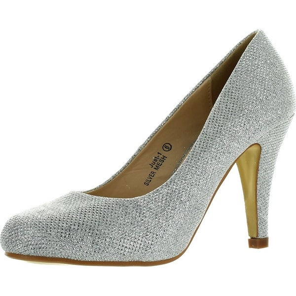 Bella Marie Just-1 Womens Comfortable Almond Toe Glitter Pu Classic Mid Heels