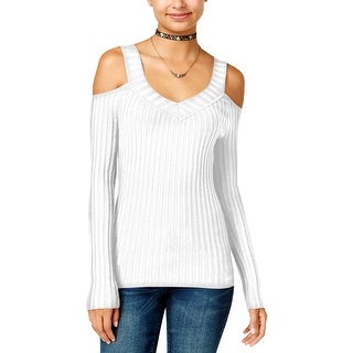 Hooked Up by IOT Womens Juniors Pullover Sweater Fitted Cold Shoulder