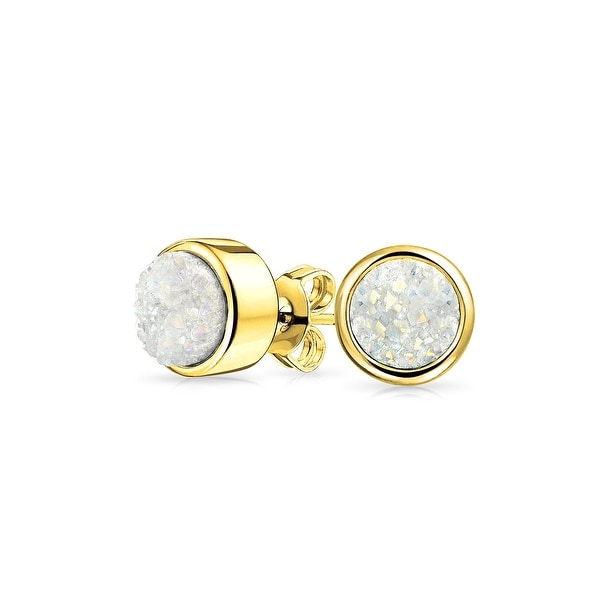 a1df6c168 Shop Simple Fashion Bezel Set Dyed White Druzy Quartz Stud Earrings Rhodium  Plated Brass 8mm - On Sale - Free Shipping On Orders Over $45 - Overstock -  ...