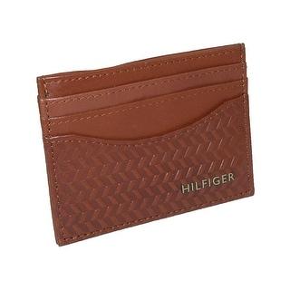 Tommy Hilfiger Men's Leather Albert Card Case Wallet - Saddle - One Size