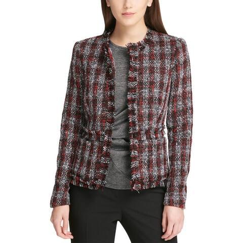 DKNY Womens Open-Front Blazer Wool Textured