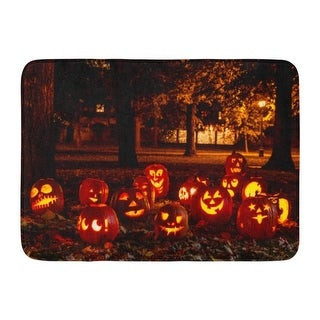 Orange Display Group Of Candle Lit Pumpkins In Park On Fall Evening Carved Doormat Floor Rug Bath Mat 23.6X15.7 Inch - Multi