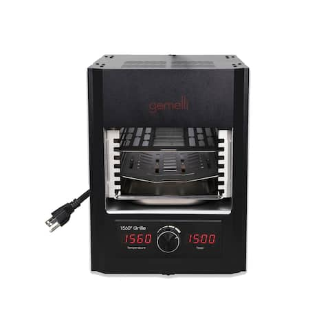 Gemelli Gourmet Steak Grille (1600 Watt), Infrared Superheating Up to 1560 Degrees, Cool-Touch Exterior, Electric Grill (Black)