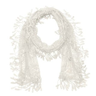 """Women's Sheer Lace Scarf With Fringe - White - 70"""" x 11"""""""