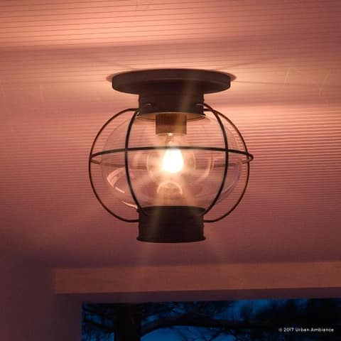 """Luxury Nautical Outdoor Ceiling Light, 10.5""""H x 11.5""""W, with Art Deco Style, Cage Design, Black Silk Finish"""