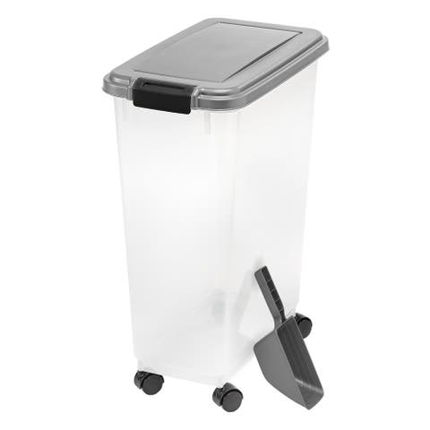 35 lb. Airtight Pet Food Container in Chrome