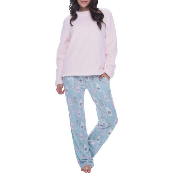 Munki Munki Women's Champagne Print Sleepwear Pajama Lounge Pants - Blue. Opens flyout.