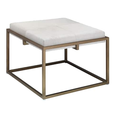 """24"""" White Hide Large Shelby Stool in Antique Brass"""