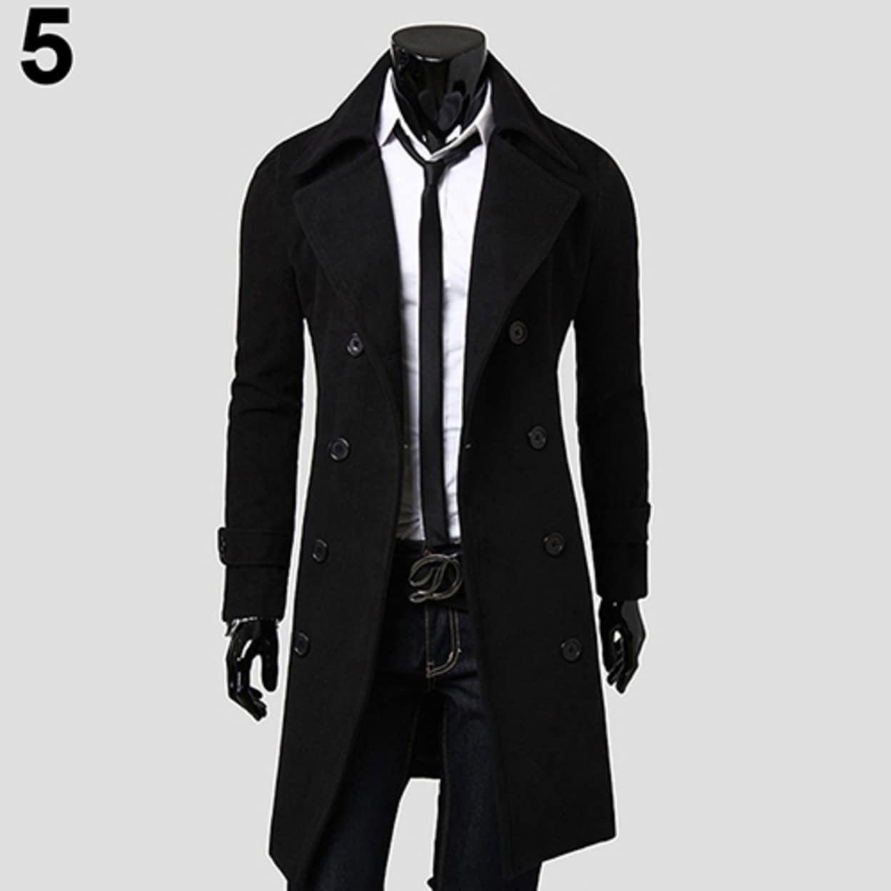 Men/'s Winter Warm Wool Trench Coat Double Breasted Overcoat Slim Jacket Outwear