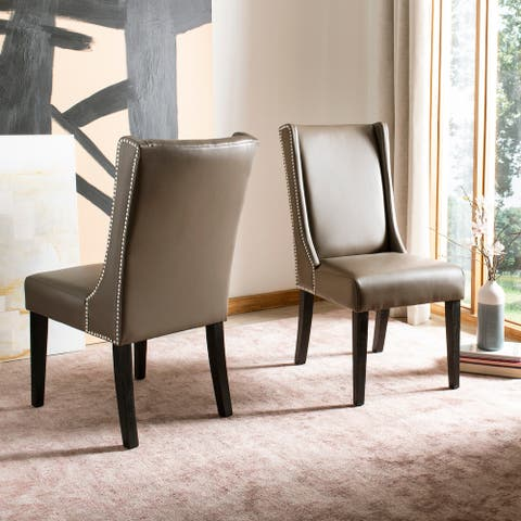 """SAFAVIEH Dining Sher Clay Bi-Cast Leather Dining Chairs (Set of 2) - 20.1"""" x 27.4"""" x 39"""""""