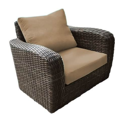 Acapulco Outdoor Patio Furniture Club Chair Lightweight Wicker Rattan Includes Brown Olefin Cushions