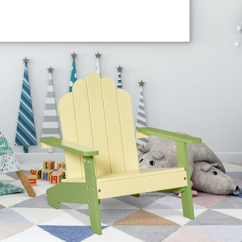 """Outsunny Kids Pine Wood Adirondack Lounger Chair with Slat Style Backrest and Wide Seat for Age 1-4 - 20"""" x 19.75"""" x 20.75"""""""