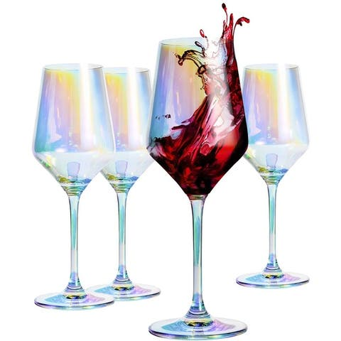 """Red Wine Glass 13-Ounce, 9"""", Hand Blown Crystal Glass"""
