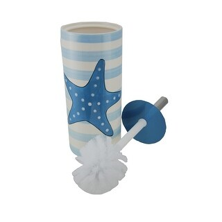 Blue and White Striped Starfish Print Ceramic Toilet Brush and Holder Set