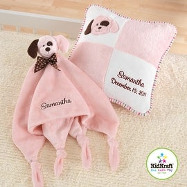 KidKraft Pink Puppy Pillow and Cuddle Blanket Set