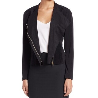 Calvin Klein NEW Black Womens Size XL Draped Faux-Suede Panel Jacket