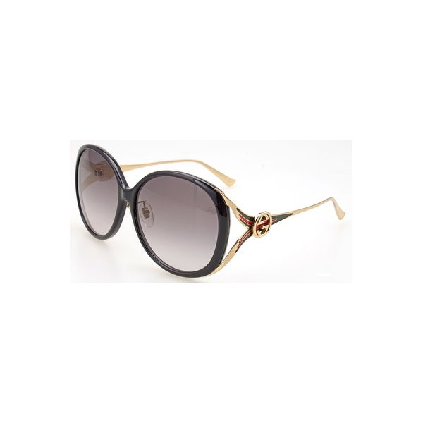 7146ed261ec Shop Gucci Gg 0226 Sk- 001 Black   Grey Gold Sunglasses - black-gold-grey -  One size - Free Shipping Today - Overstock - 24266441