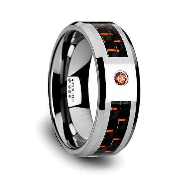 Noah Tungsten Ring With Black And Orange Carbon Fiber And Orange Padparadscha Stone Setting