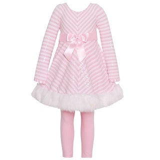 Bonnie Jean Girls Pink Stripe Shiny Christmas 2 Pc Legging Set