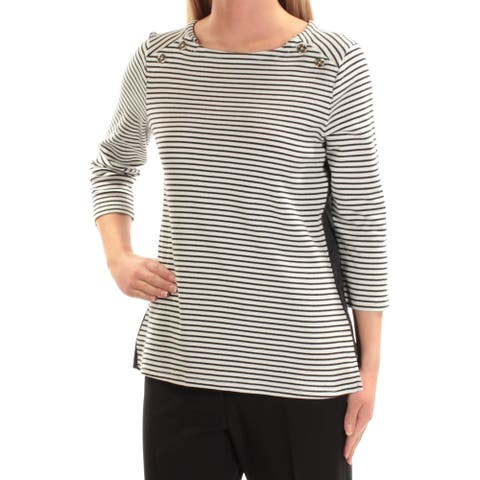 TOMMY HILFIGER Womens Black Striped 3/4 Sleeve Top Size XS